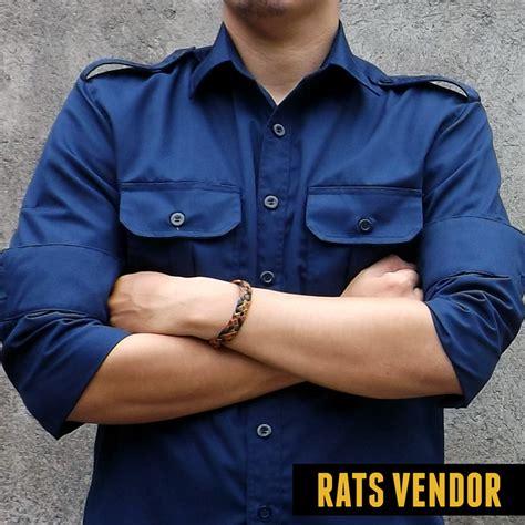 Baju Wearpack Warna Biru Dongker Size L Berkualitas kemeja outdoor lapangan gunung pdl lengan panjang biru navy konveksi bogor rats vendor