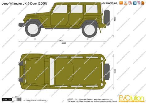 jeep drawing jeep wrangler jk 5 door vector drawing