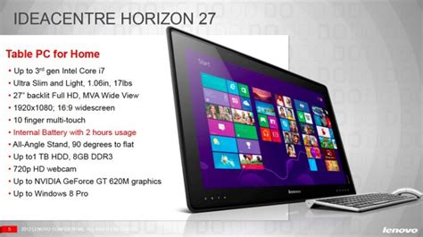 Lenovo Ideacentre Horizon 27 994 lenovo talks up new 27 inch table pc at ces ars technica