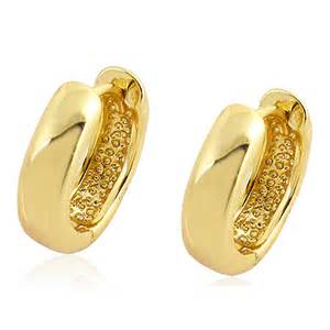 gold ear ring image gold filled 18k plain confortable huggie hoop earrings traditional 12mm