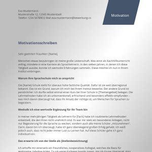 Kostenlose Vorlage Motivationsschreiben Motivationsschreiben Kostenlose Muster Vorlagen Bewerbung Co