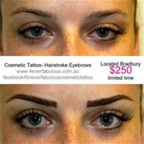 Eyebrows Treatment Paket 2 before immediately after and healed after cosmetic treatment on eyebrows and top