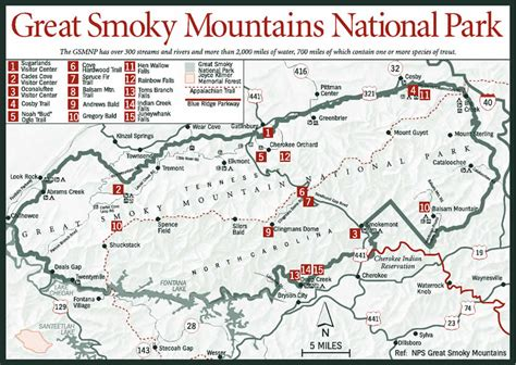 great smoky mountains national park map sherpa guides tennessee the tennessee mountains great smoky mountains national park