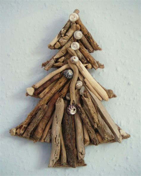 Tree Of Handmade - handmade driftwood and shell tree wall hanging 20cm