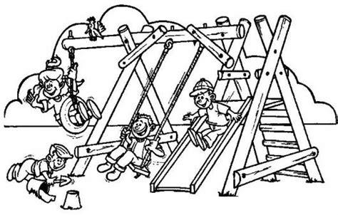 imagenes juegos infantiles para pintar dibujo de parque infantil juegos de ninos columpios y