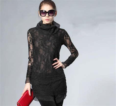 Black Lace Split Joint Dress 2014 european brand pullover lace split joint