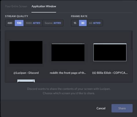 discord how to screen share discordapp is only giving me a black screen whenever i try