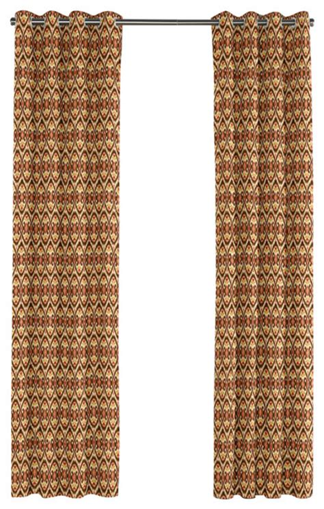 red brown curtains red and brown ikat grommet curtain mediterranean