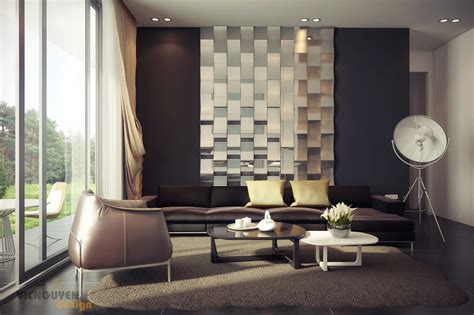 interior wall designs rich palette living with mirrored feature wall interior