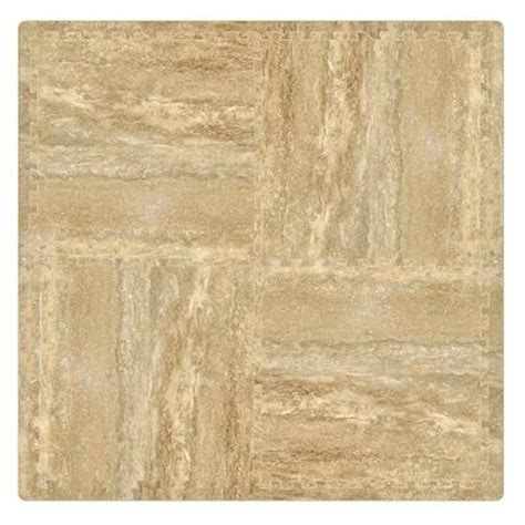 trafficmaster travertine 24 in x 24 in interlocking foam
