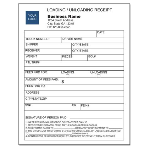 Unloading Receipt Template by Product Details Designsnprint