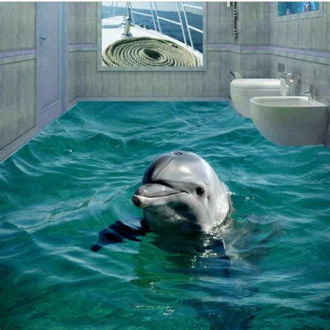 Dolphin Wallpaper For Bathroom by New 3d Dolphin Floor Wallpaper Pvc Floor Murals Bathroom