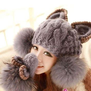 2016 Fashion Winter Wool Makes Hotspot Cat Ear Hat Beanie F 1 best faux fur hats for products on wanelo
