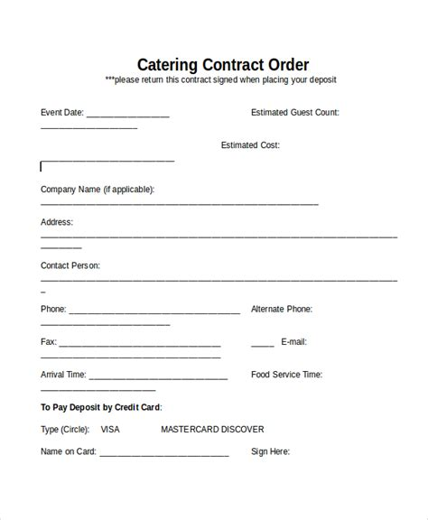 catering contract template download editable catering