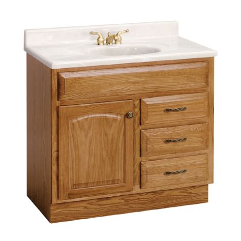 bathroom vanity lowes shop project source 36 quot oak elegance bath vanity at lowes