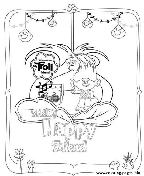happy birthday poppy coloring pages trolls movie 2016 spring happy friend coloring pages printable
