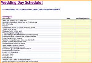 6 wedding schedule template wedding spreadsheet