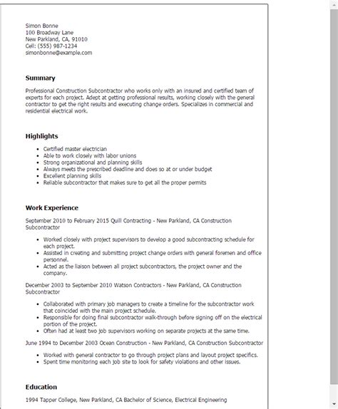 Resume Building Construction Materials Description construction subcontractor resume template best design