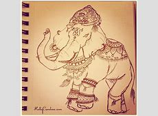 Indian Elephant drawing in my sketchbook for today ... Indian Elephant Henna Drawing