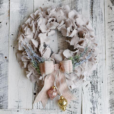 shabby chic dropcloth rag christmas wreath the diy mommy