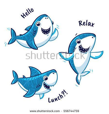 baby shark vector blue shark cartoon characters text hello stock vector