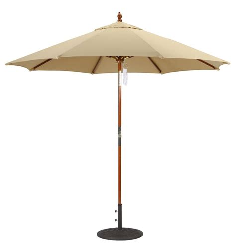 9 wood patio umbrella with pulley
