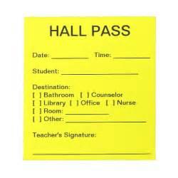Hall pass pad zazzle