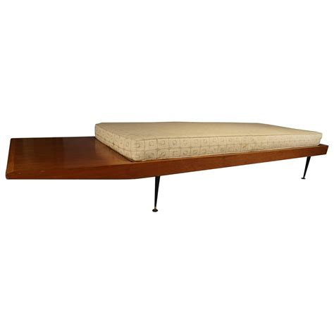 long bench mid century long bench with cushion at 1stdibs