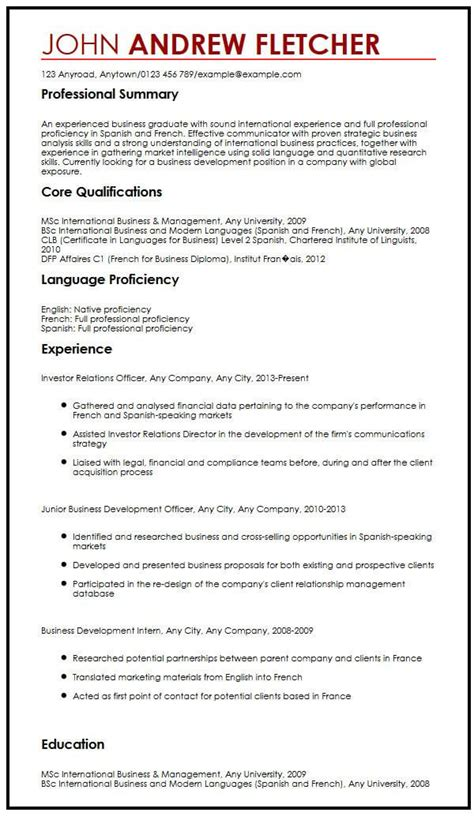 skills cv exle uk cv sle with language skills myperfectcv
