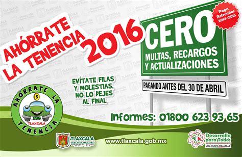 refrendo 2016 estado de tlaxcala pago tenencia 2016 servicio publico estado mexico