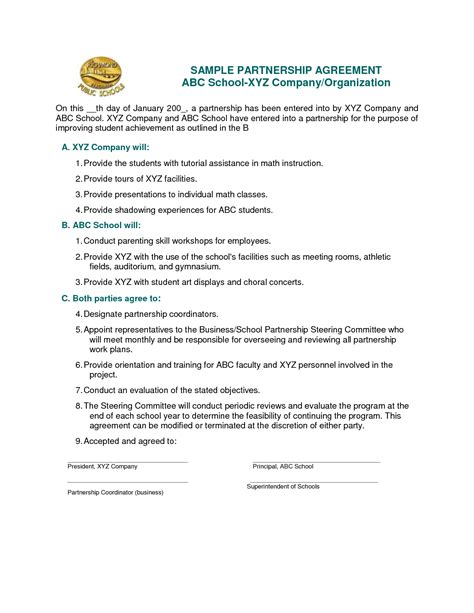 School Partnership Agreement Template 28 Images Business Partnership Agreement 9 Documents Sle Partnership Agreement Template