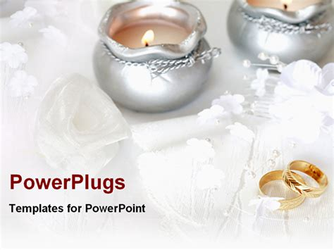 wedding rings with candles powerpoint template background