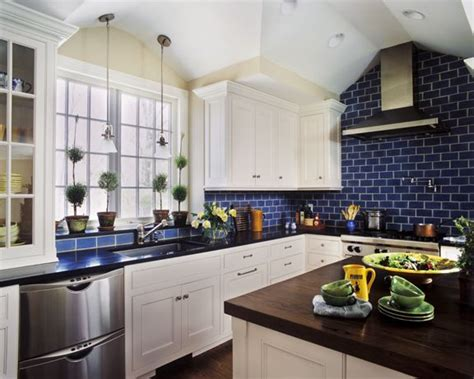 blue kitchen tiles tile cabinets countertops big windows high ceilings