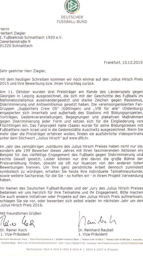 Anschreiben Neuer Ansprechpartner Julius Hirsch Preis 2015 1 Fc Schnaittach