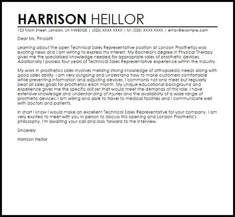 leading professional sales representative cover letter examples