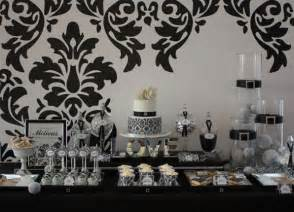 Black And White Buffet Pin Damask Theme Wedding Indian Centerpieces Purplewedding