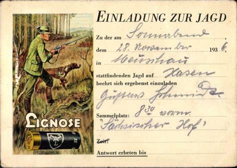 Hochzeitseinladung Jagd by Ansichtskarte Postkarte Einladung Zur Jagd J 228 Ger Mit