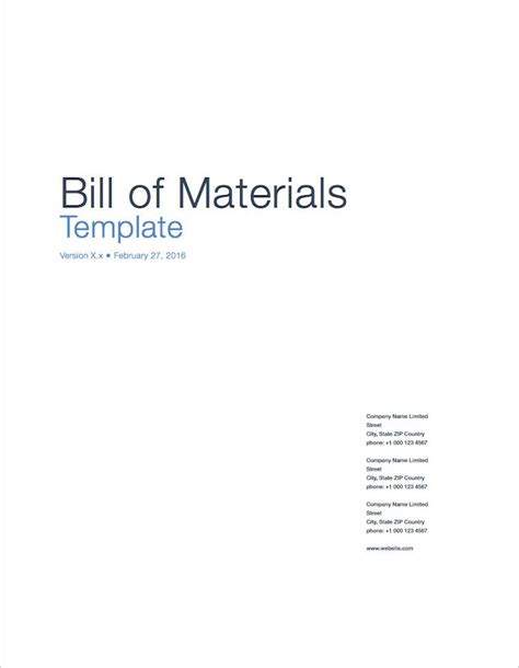 bill of materials template bill of materials apple iwork pages numbers