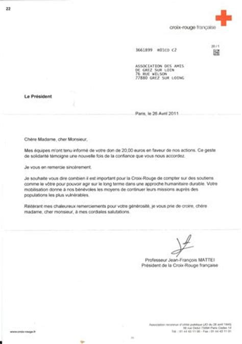 Exemple Lettre De Remerciement Pour Un Don Lettre De Remerciement Association