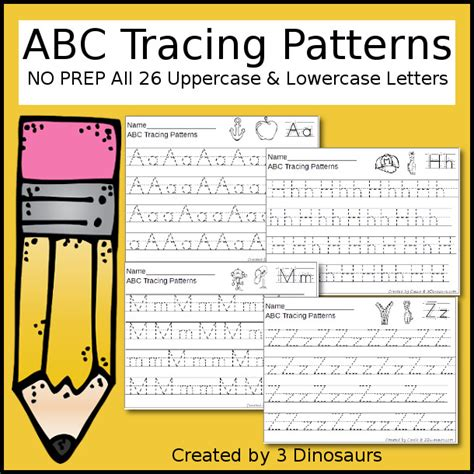 abc pattern for kindergarten abc tracing patterns 3 dinosaurs