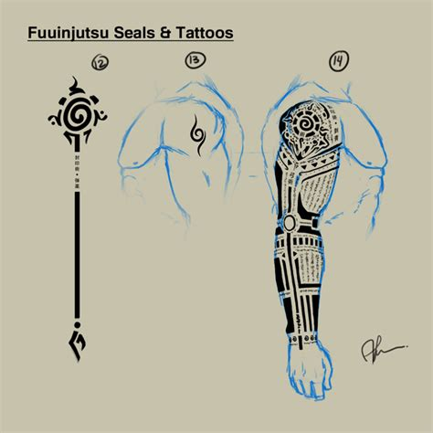 naruto tribal tattoo hyuuga roku fuuinjutsu seals tattoos by daveartwork on