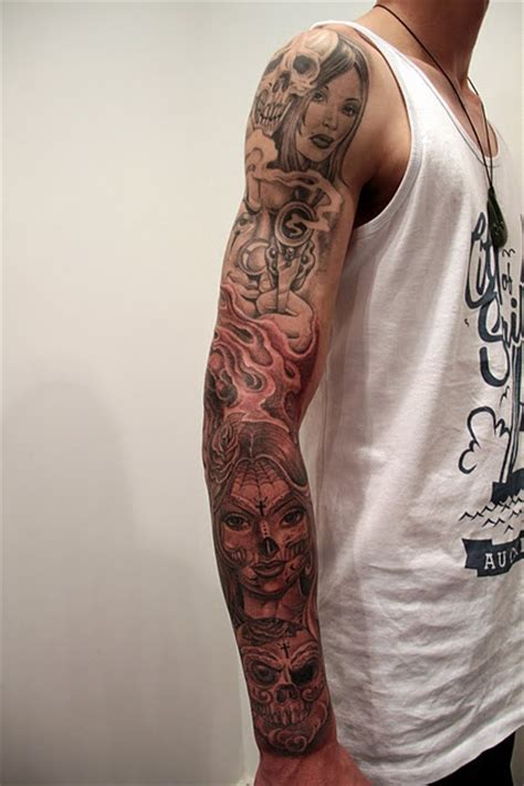 dope tattoo sleeves day of the dead mr tattoos