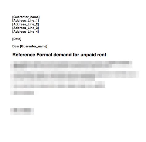 Rent Arrears Letter Template Guarantor Rent Arrears Demand Letter Grl Landlord Association