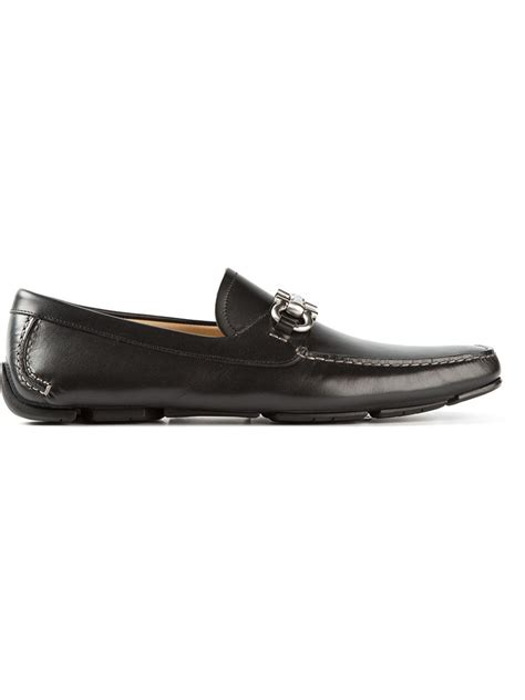 ferragamo bit loafer ferragamo bit loafers in black for lyst