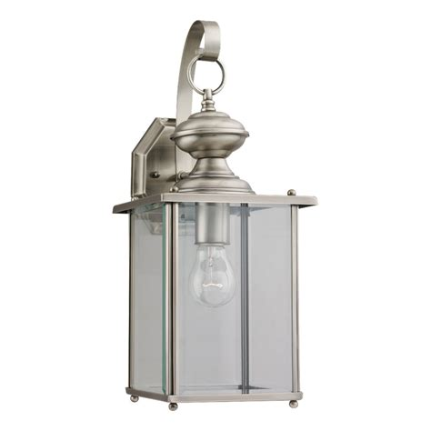 Brushed Nickel Outdoor Light Shop Sea Gull Lighting Jamestowne 17 In H Antique Brushed Nickel Outdoor Wall Light At Lowes