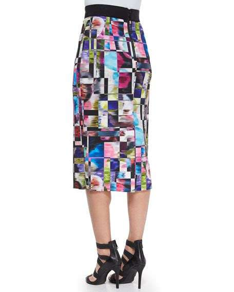 Print Midi Pencil Skirt milly cubist print midi pencil skirt