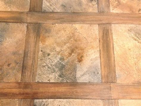 Wood concrete overlay rustic basement