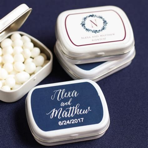 Wedding Favors Tins by Exclusive Wedding Collection Personalized Mint Tins