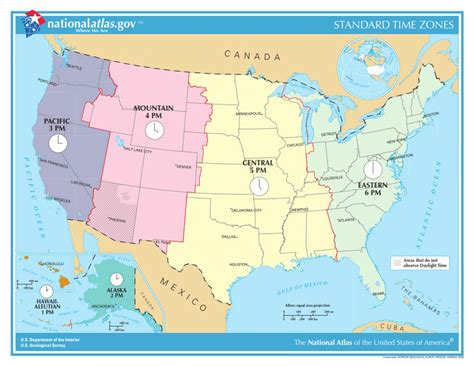standard map standard time zones map