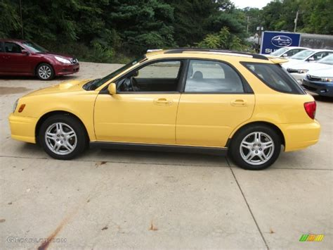 yellow subaru wagon sonic yellow 2003 subaru impreza wrx wagon exterior photo